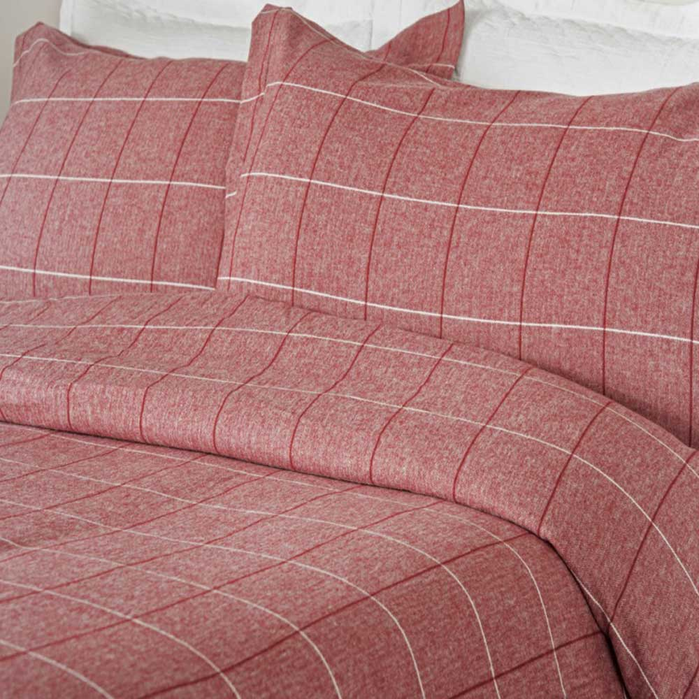 Design Port Acton Red Brushed Cotton Pillowcase
